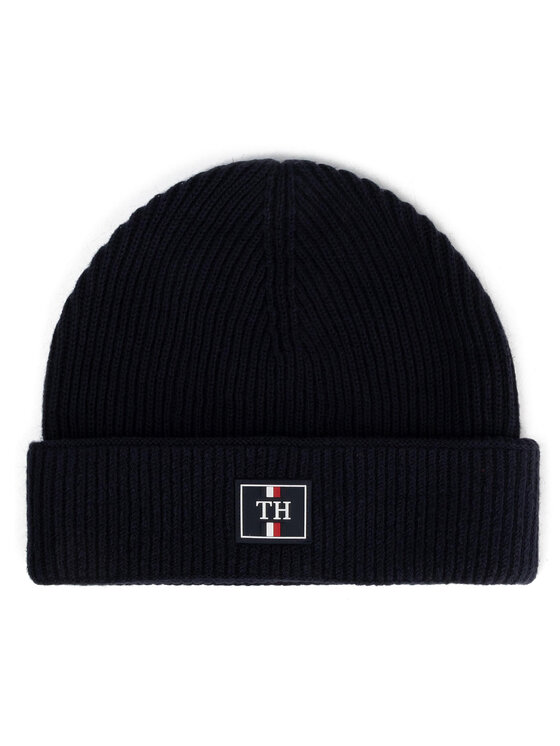 TOMMY HILFIGER TOMMY HILFIGER čepice Th Patch Knit Beanie AM0AM06018 Tmavomodrá