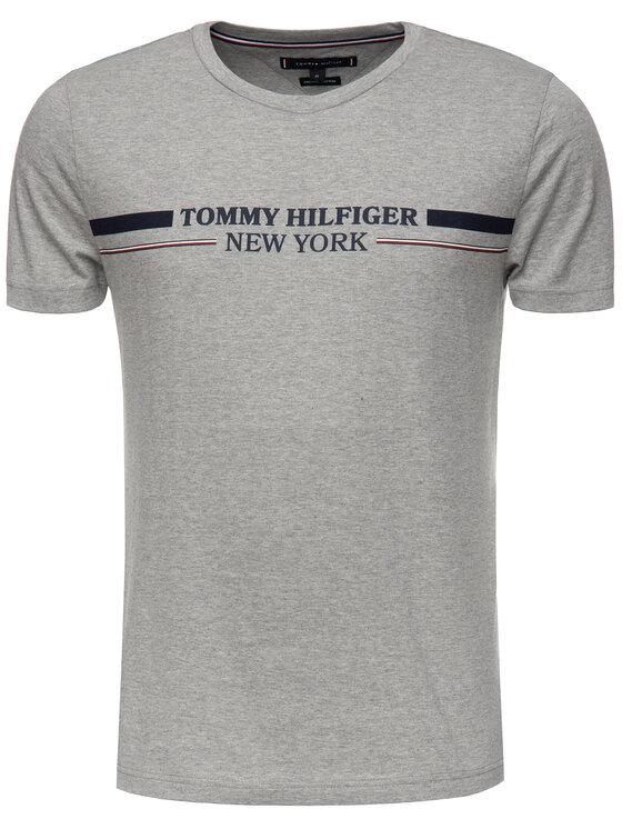 Tommy Hilfiger Tommy Hilfiger Tričko Stripe MW0MW10846 Sivá Regular Fit
