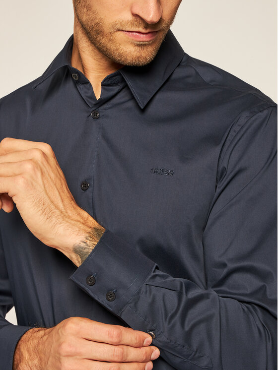 Guess Guess Košile M0BH20 W7ZK0 Tmavomodrá Slim Fit