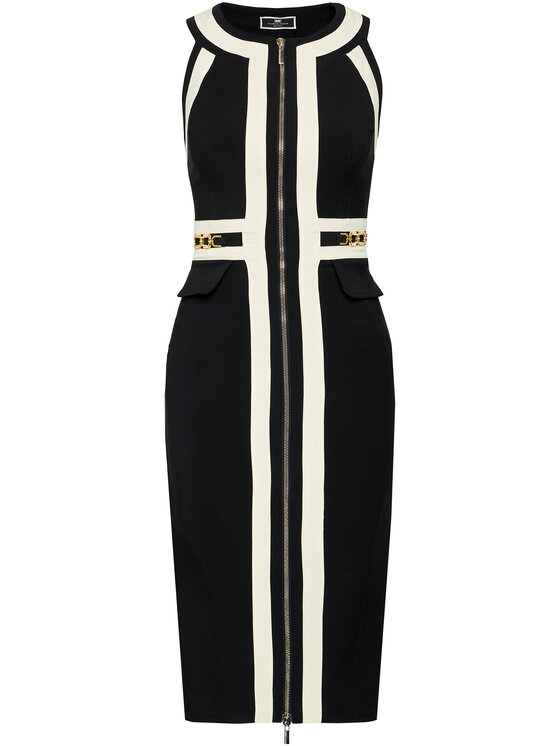 Elisabetta Franchi Elisabetta Franchi Koktejlové šaty AB-037-11E2-V570 Černá Slim Fit