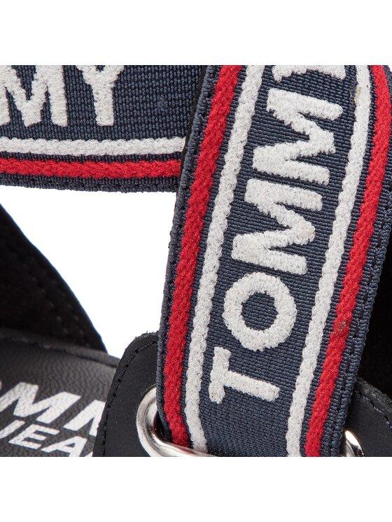 Tommy Jeans Tommy Jeans Sandały Pop Webbing Flat Sandal EN0EN00437 Granatowy