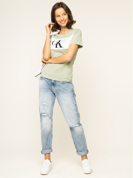 Calvin Klein Jeans Calvin Klein Jeans Marškinėliai J20J213183 Žalia Regular Fit