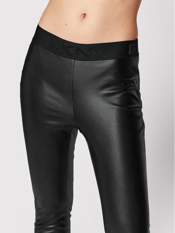 DKNY DKNY Hlače od imitacije kože P1RKXGIJ Crna Slim Fit