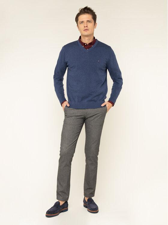 Tommy Hilfiger Tommy Hilfiger Pulover Organic Cotton-Slik MW0MW11653 Bleumarin Regular Fit