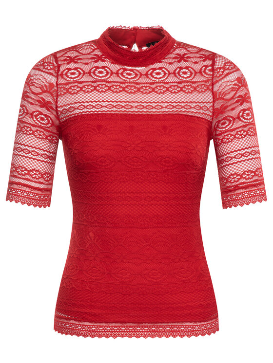 Guess Guess Bluse W93P72 K86T0 Rot Slim Fit