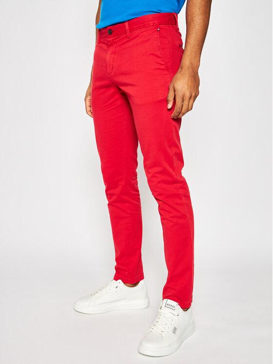 TOMMY HILFIGER TOMMY HILFIGER Pantaloni di tessuto Bleecker Flex Satin Chino MW0MW13287 Rosso Slim Fit