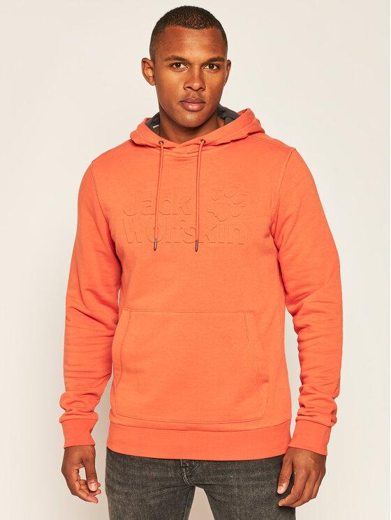 Jack Wolfskin Džemperis Logo Hoody 1709141 Oranžinė Regular Fit