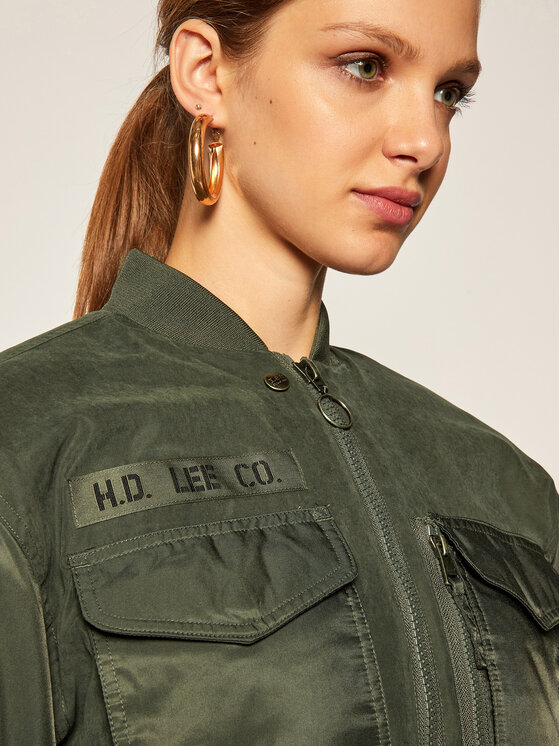 Lee Lee Geacă bomber Sateen Bomber L56EMMNX Verde Relaxed Fit