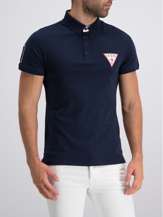 Guess Guess Polo M93P37 K8FQ0 Granatowy Slim Fit