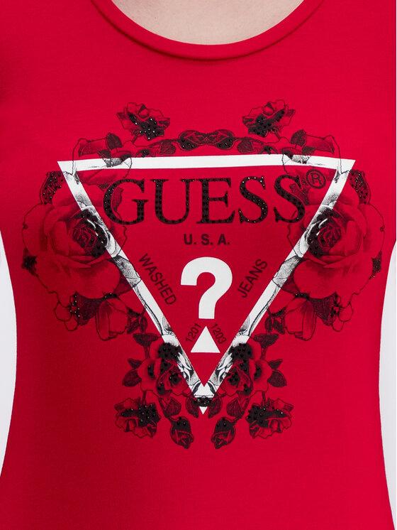 Guess Guess Blúz Roses W93I90 J1300 Piros Slim Fit