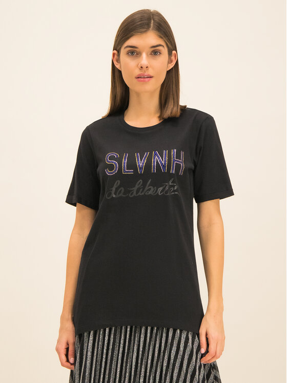 Silvian Heach Silvian Heach T-Shirt Stitten PGA19022TS Czarny Regular Fit