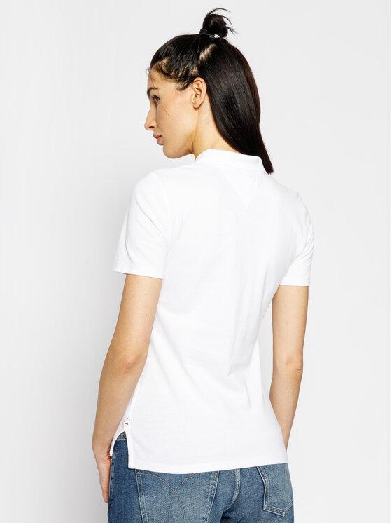 Tommy Jeans Tommy Jeans Тениска с яка и копчета Original DW0DW04434 Бял Regular Fit