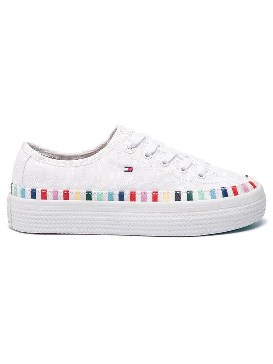 Tommy Hilfiger Tommy Hilfiger Teniși Rainbow Flatform Sneaker FW0FW04069 Alb