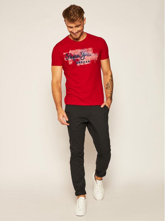 Pepe Jeans Pepe Jeans T-Shirt Golders PM503213 Červená Slim Fit
