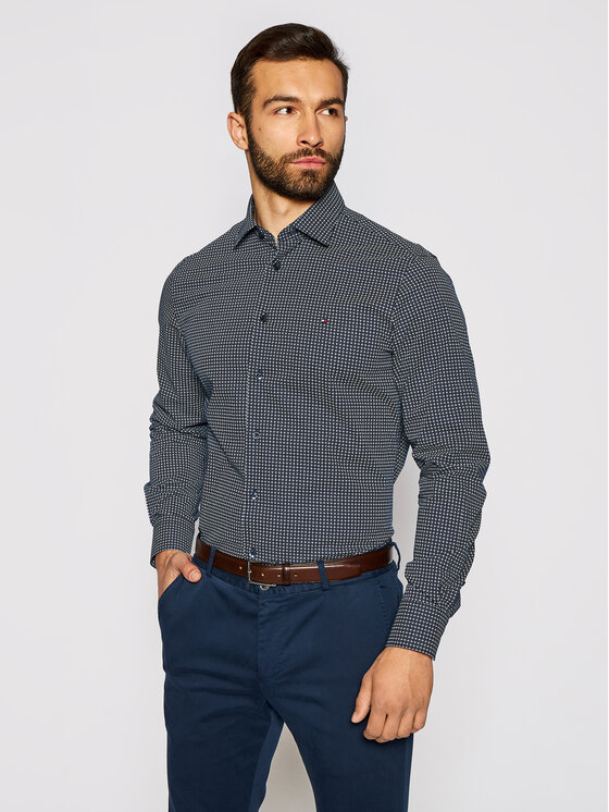 Tommy Hilfiger Tailored Marškiniai Geo Dot Prt MW0MW16466 Tamsiai mėlyna Regular Fit