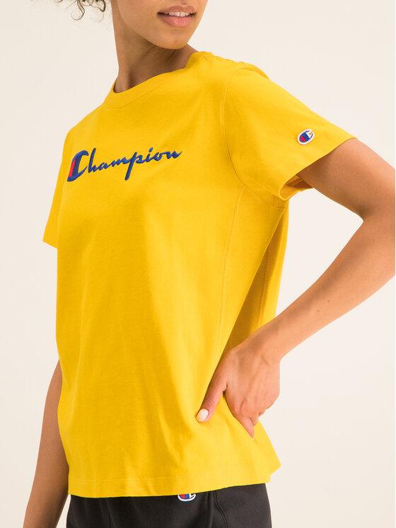 Champion Champion Tričko Script Logo 110992 Žltá Regular Fit