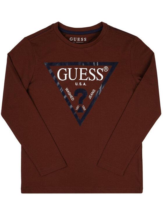 Guess Guess Bluzka L84I29 K5M20 Bordowy Regular Fit