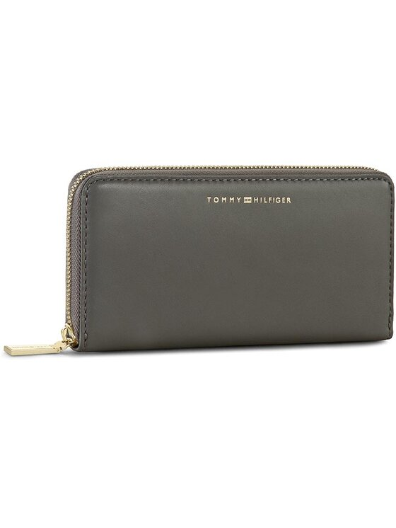 Tommy Hilfiger Tommy Hilfiger Голям дамски портфейл Smooth Leather Large Z/A Wallet AW0AW03027 Сив