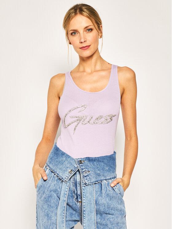 Guess Guess Marškinėliai Bebe W0GI73 K1810 Violetinė Slim Fit