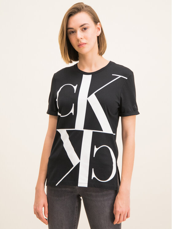 Calvin Klein Jeans Calvin Klein Jeans Tričko Mirrored Monogram J20J212932 Čierna Regular Fit