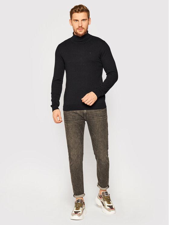 Wrangler Wrangler Golf Roll Neck Knit W8A22P100 Czarny Slim Fit