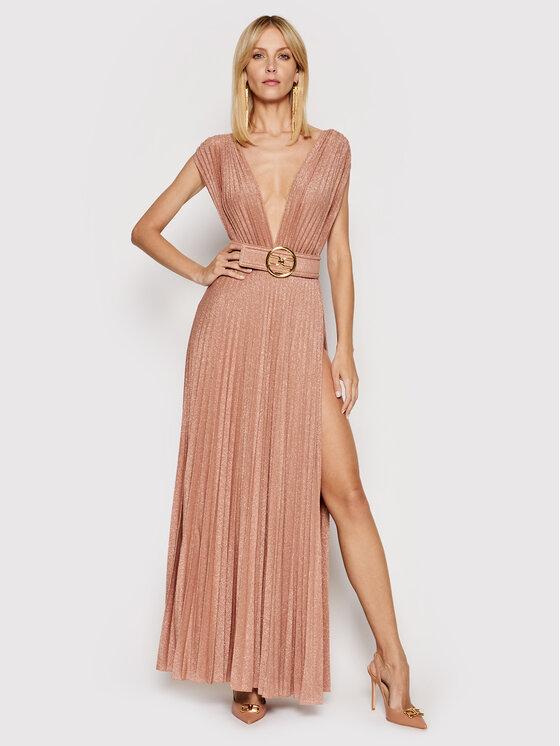 Elisabetta Franchi Sukienka wieczorowa AB-149-13E2-V460 Złoty Regular Fit