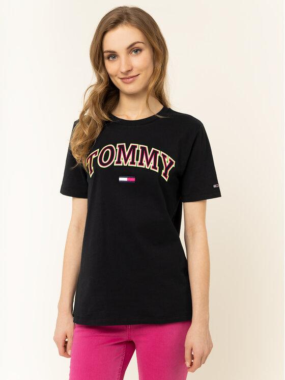 Tommy Jeans Tommy Jeans Marškinėliai Tjw Neon Collefiate Tee DW0DW07540 Juoda Regular Fit