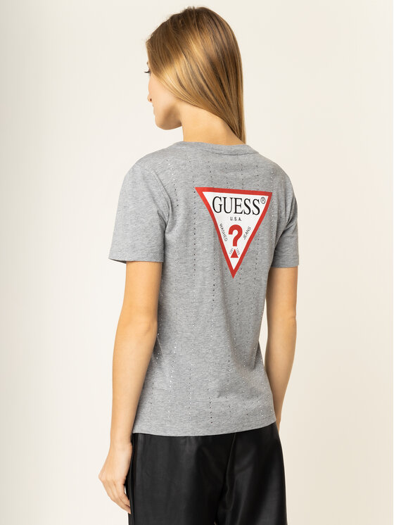 Guess Guess Tricou Krystal Tee W01I70 K46D0 Gri Regular Fit