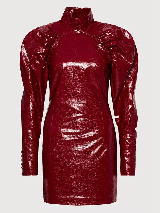 ROTATE Dirbtinės odos suknelė Kim RT450 Bordinė Regular Fit
