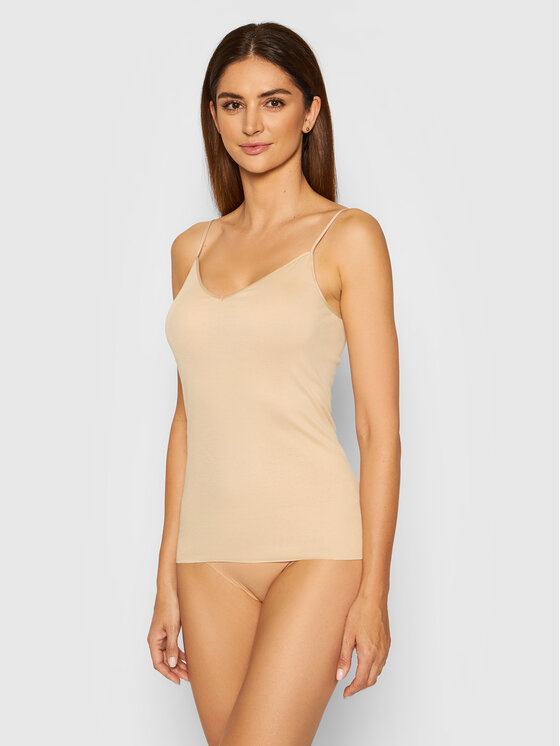 Hanro Apatiniai marškinėliai Cotton Seamless 1601 Smėlio Slim Fit