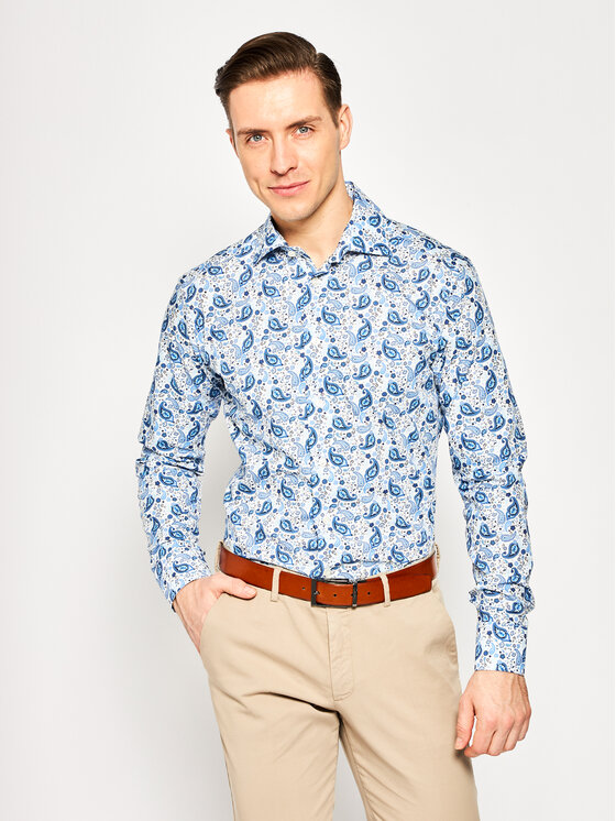 Eton Marškiniai 100000739 Mėlyna Slim Fit