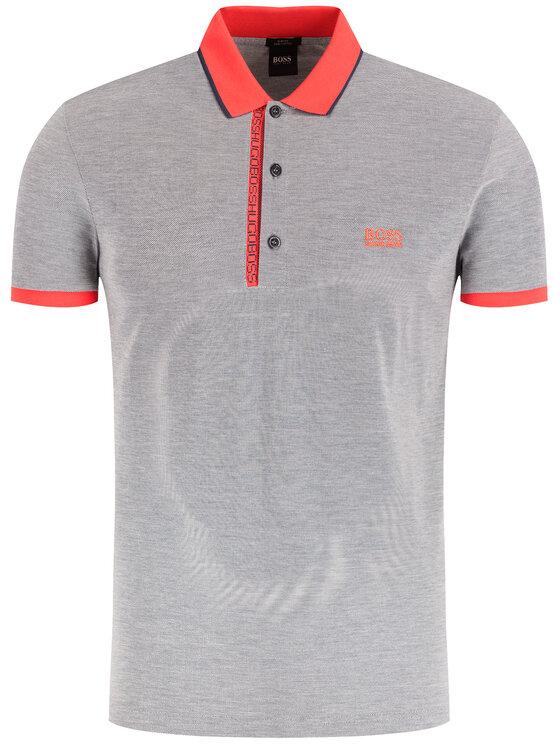 Boss Boss Тениска с яка и копчета Paule 4 50399185 Тъмносин Slim Fit