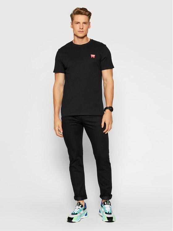 Wrangler Wrangler T-Shirt Sign Off Tee W7C07D301 Černá Regular Fit