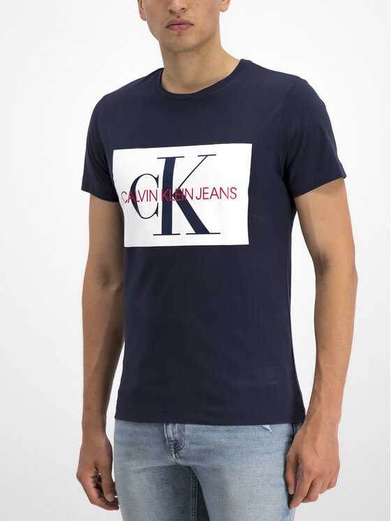 Calvin Klein Jeans Calvin Klein Jeans Marškinėliai Monogram J30J313564 Tamsiai mėlyna Slim Fit
