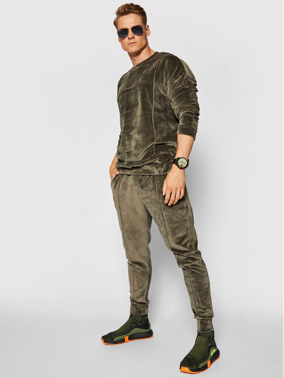 LaManuel Sportinis kostiumas Velour Swag Set Žalia Regular Fit