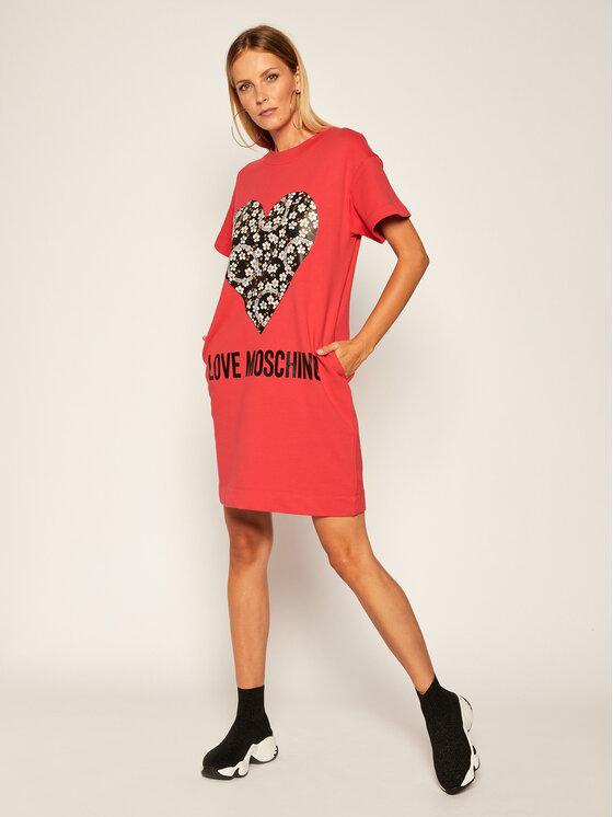 LOVE MOSCHINO LOVE MOSCHINO Úpletové šaty W5B1104 M4055 Červená Regular Fit