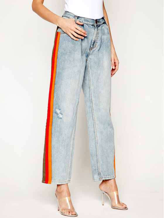 One Teaspoon Jeansy Relaxed Fit Montana Stripe Smitha 22936 Mėlyna Relaxed Fit