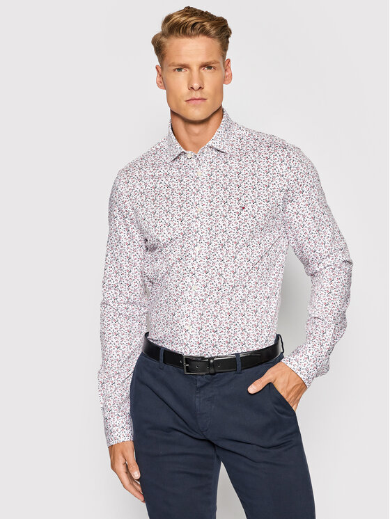 Tommy Hilfiger Tailored Marškiniai Floral Knit MW0MW19411 Balta Slim Fit