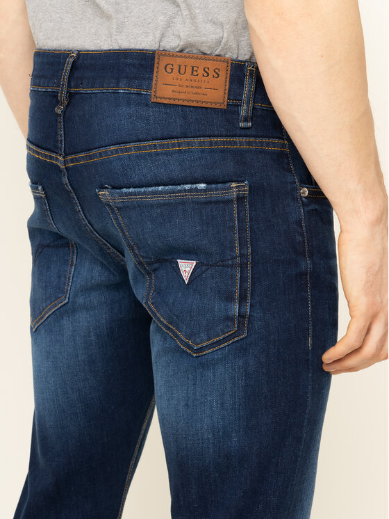 Guess Guess Jeansy Miami M93AN1 D3PA1 Granatowy Slim Fit