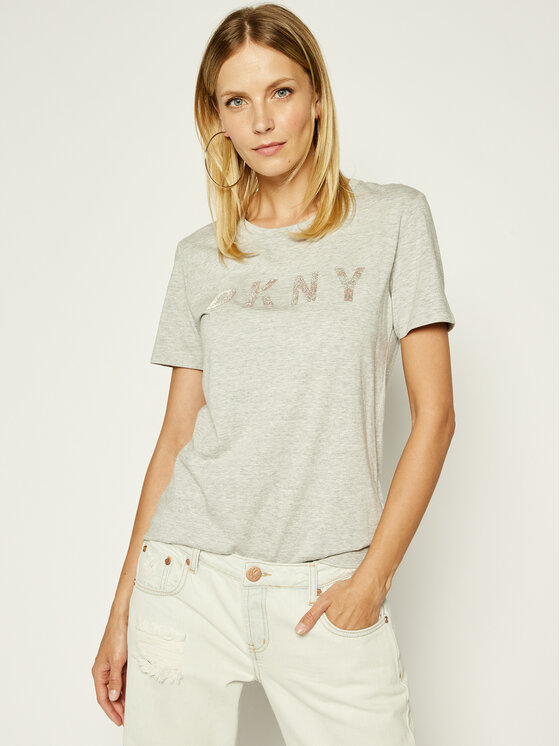 DKNY DKNY T-Shirt P9BH9AHQ Szary Regular Fit
