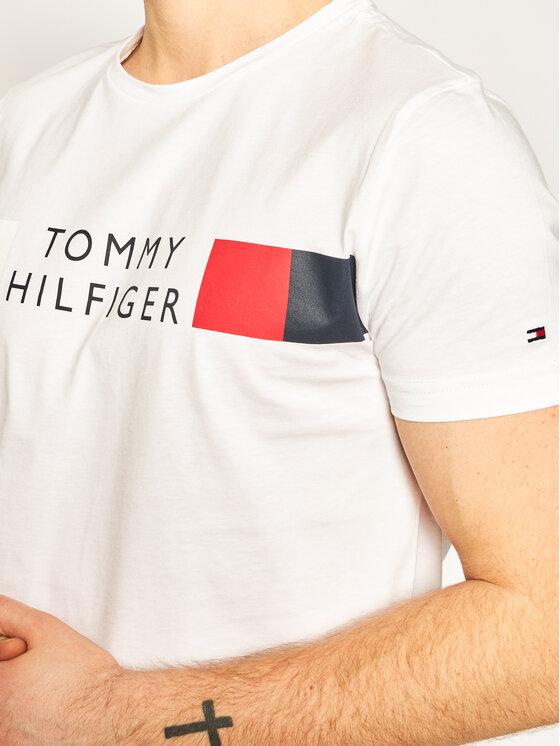Tommy Hilfiger Tommy Hilfiger T-Shirt Rwb Stripe Tee MW0MW13330 Weiß Regular Fit
