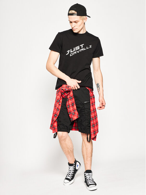 Just Cavalli Just Cavalli T-Shirt S01GC0616 Czarny Regular Fit