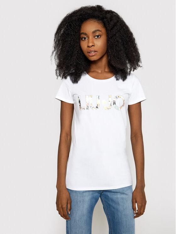 Liu Jo Beachwear Marškinėliai VA1092 J5003 Balta Slim Fit