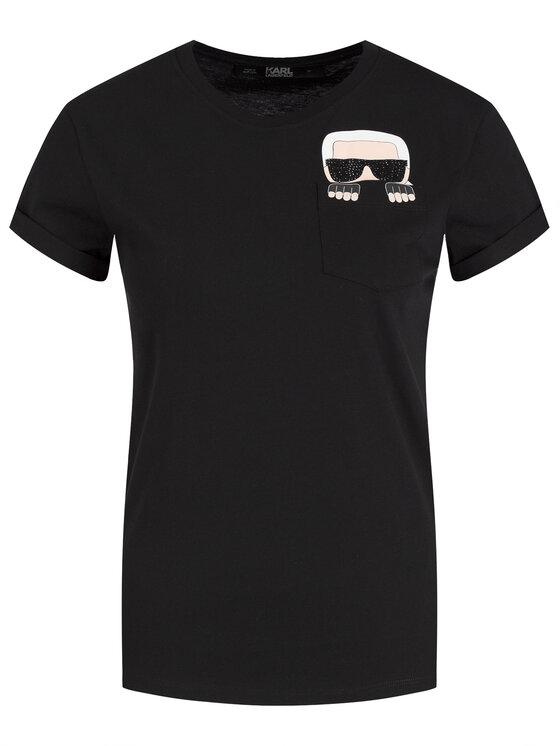 KARL LAGERFELD KARL LAGERFELD Marškinėliai 96KW1718 Juoda Regular Fit
