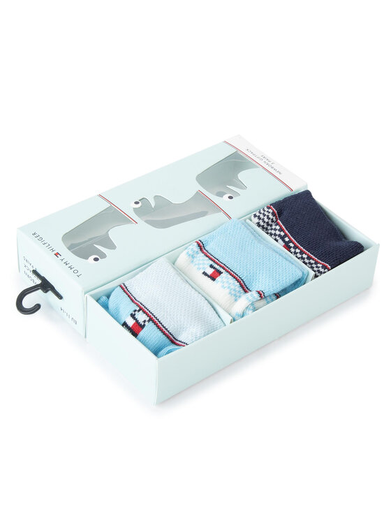 Tommy Hilfiger Tommy Hilfiger Комплект 3 чифта дълги чорапи детски 495001001 Син
