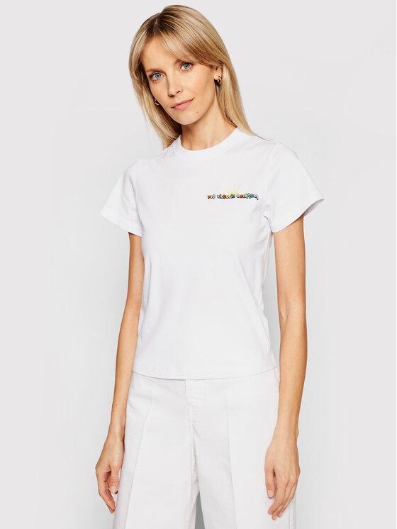 Victoria Victoria Beckham Marškinėliai Organic Single 2221JTS002507A Balta Regular Fit