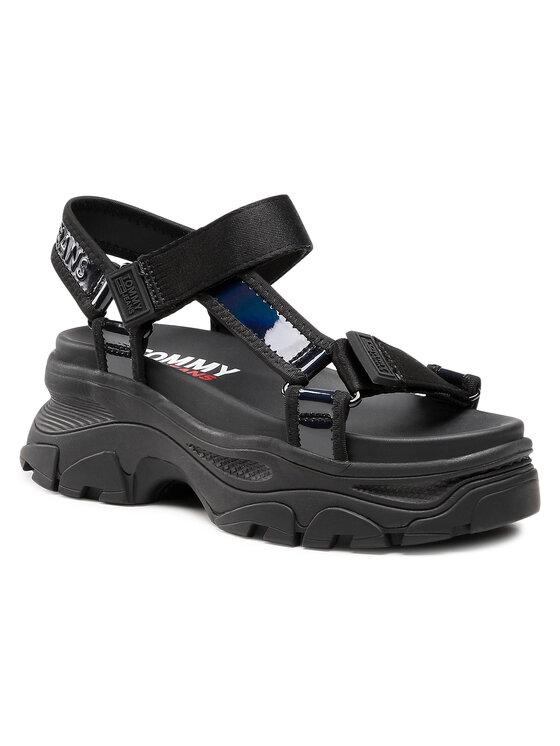 Tommy Jeans Basutės Iridescent Hybrid Sandal EN0EN01311 Juoda