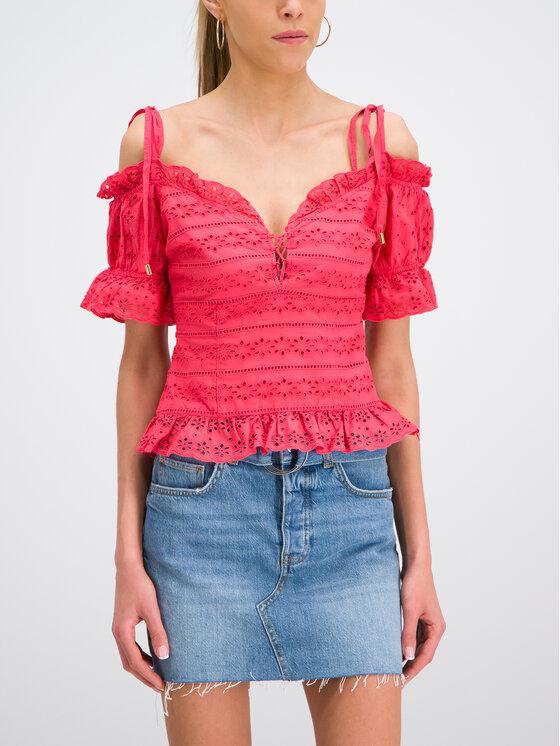 Guess Guess Bluzka W92H0C WBK90 Różowy Regular Fit