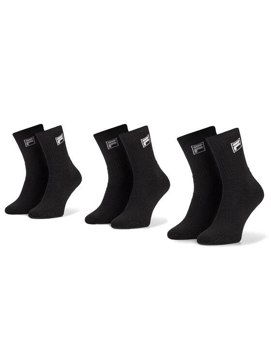 Fila Fila Set de 3 perechi de șosete medii unisex Calza Tennis Socks F9000 Negru