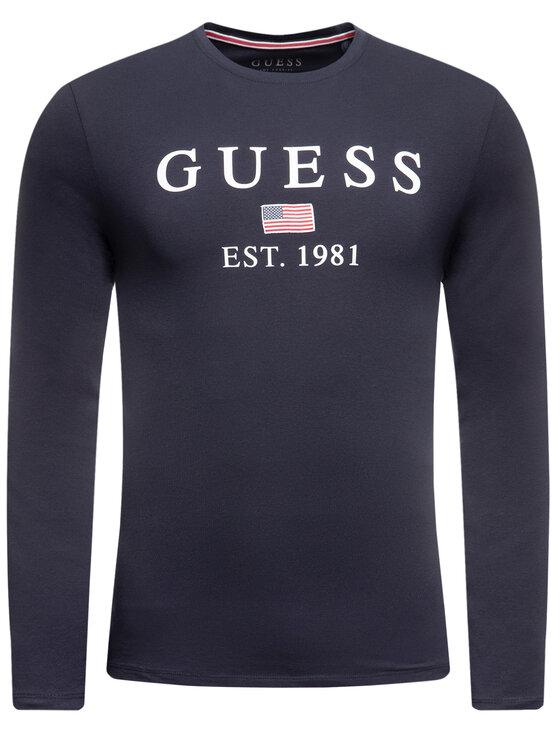 Guess Guess Тениска с дълъг ръкав M01I70 J1300 Тъмносин Slim Fit